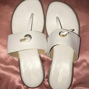 White Michael Kors Cindy Sandals, Size 8